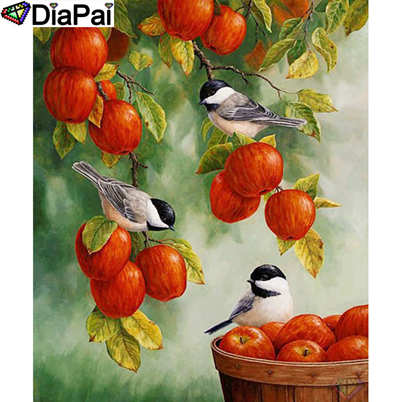 DIAPAI 5D DIY Diamond Painting 100 Full Square Round Drill quot Animal bird apple quot Diamond Embroidery Cross Stitch 3D Decor A21496 in Diamond Painting Cross Stitch from Home amp Garden