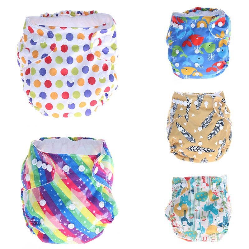 New Baby Washable Cloth Diaper Cartoon Adjustable Nappy Reusable Digital Printing Cloth Diapers Available Breathable Waterproof