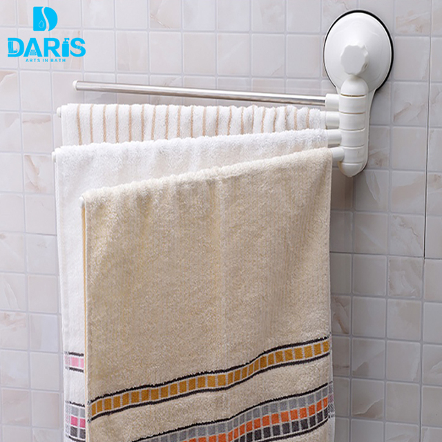 DARIS No Drill Hook Rotating Towel Rack Bathroom Accessories ...