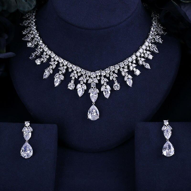 4 Farbe Auswahl Beste QualitÄt Brilliant Kristall Zirkon Ohrringe Und Halskette Brautschmuck Set Hochzeitskleid Mithelfer Gute QualitäT