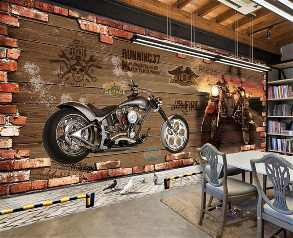 Custom 3d Photo Wallpaper Room Mural Retro Motorcycle Nostalgic Brick Wall Painting Background Non-woven Wallpaper For Wall 3d