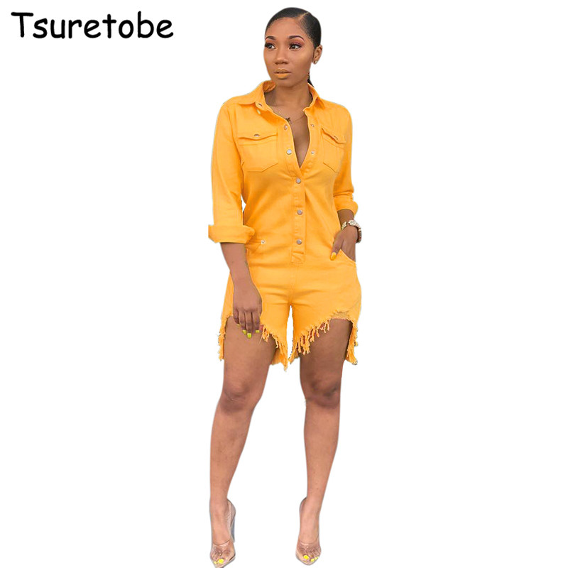 Tsuretobe Fashion Casual Denim   Jumpsuit   Women Bodycon Jeans   Jumpsuit   Ladies High Quality Long Sleeve +Tassel Short Pants Female