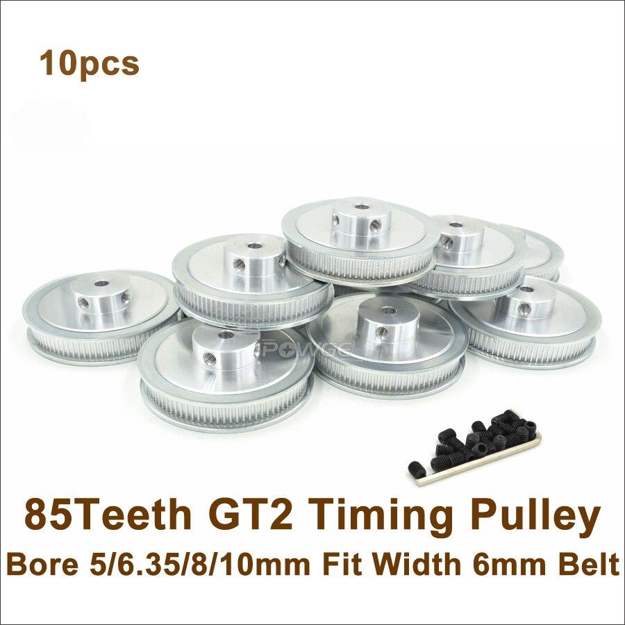 POWGE 10pcs 85 Teeth 2GT Timing Belt Pulley Bore 5 6 35 8 10mm Fit Width
