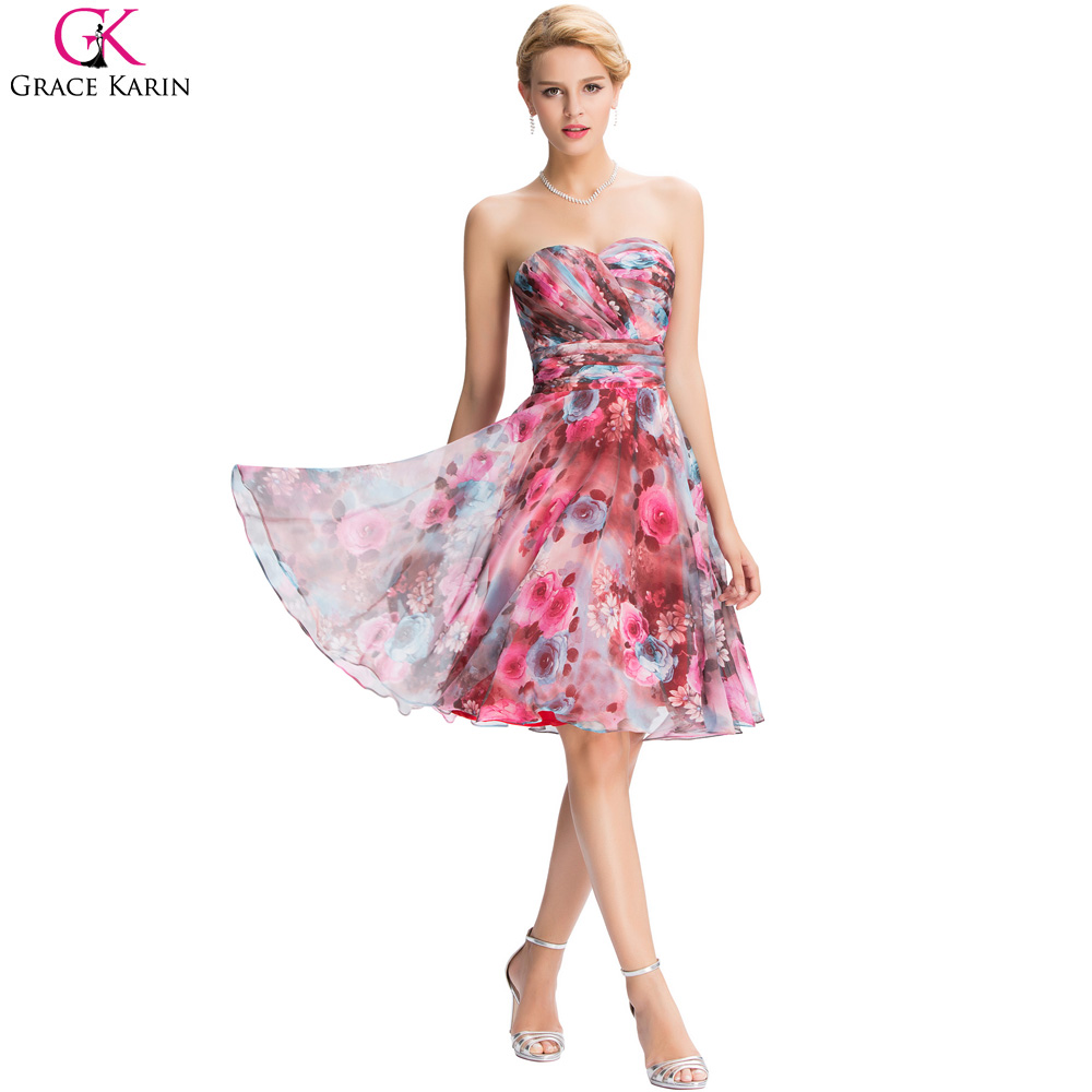 Grace karin vestidos de coctel floral patrón de impresión ...