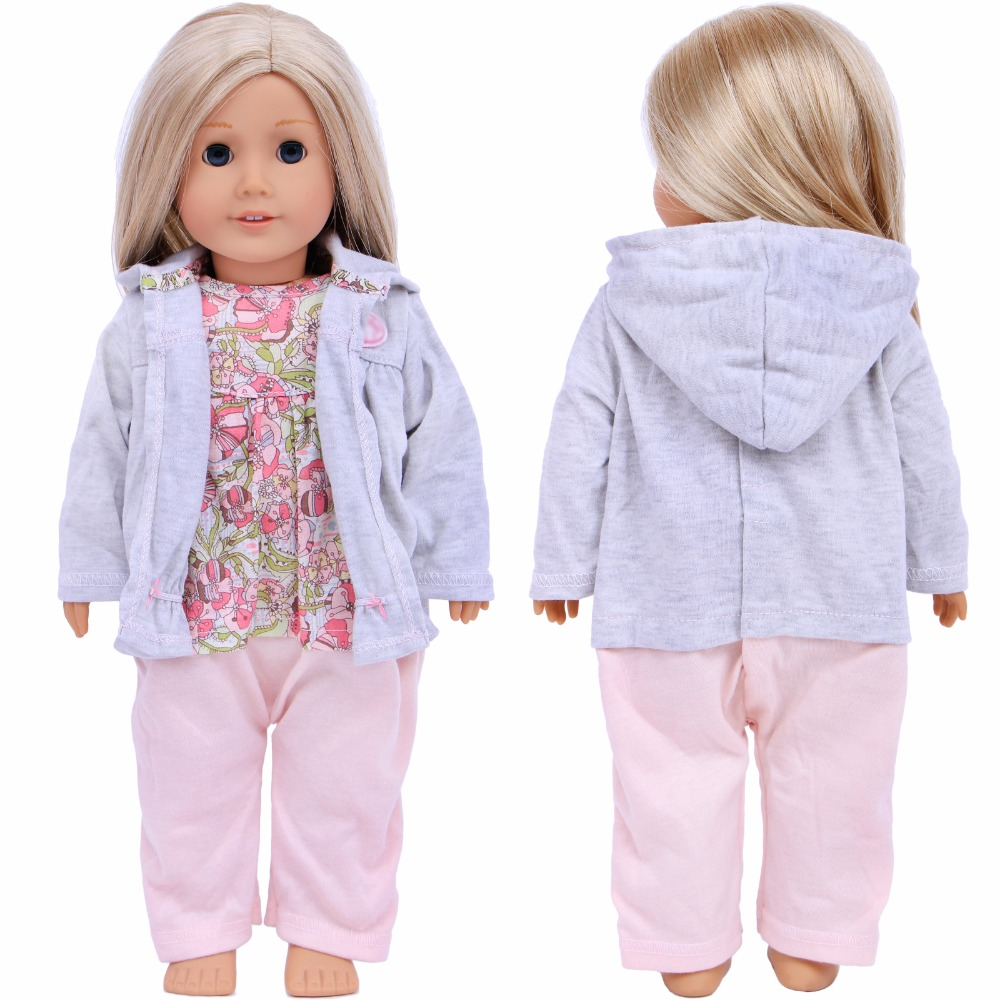 """MagiDeal 2pcs Printed Top Pants for 18/"""" AG American Doll Doll Clothes DIY Accs"""