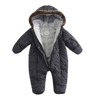 2017 baby winter clothes thicken cotton romper outwear one piece clothes boys winter jump suit bebes winter clothes gray 6-12M