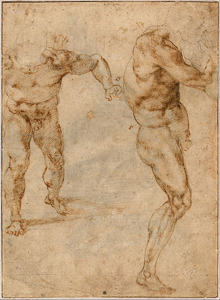 Canvas Art Prints Stretched Framed Painting Michelangelo Buonarroti Two <font><b>Nude</b></font> <font><b>Studies</b></font> <font><b>Man</b></font> Storming Forward Another Turning Right