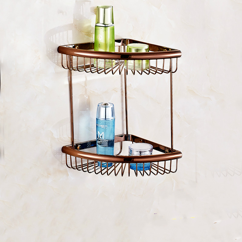 European Rose Gold Corner Basket Antique Copper Bathroom Shelf Polish Racks Bathroom Accessories european gold polish