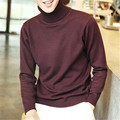 Mens Solid White Sweaters Autumn Winter Warm Pullovers Turtleneck Knited Crocheted Christmas Gift Slim Fit Masculina Camisetas