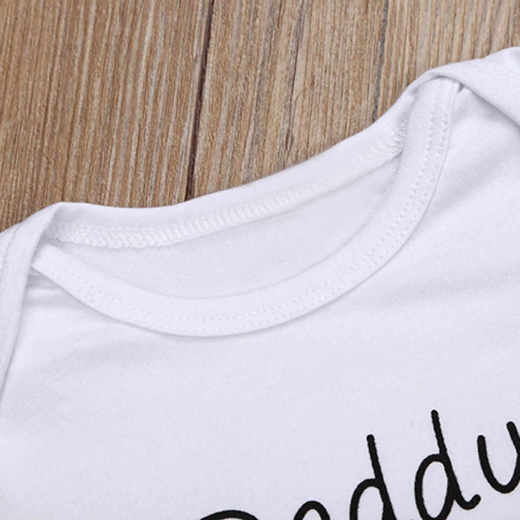 ทารกแรกเกิดเด็กทารกเสื้อผ้าเด็กแขนสั้นวันพ่อ Daddy Letter พิมพ์ Romper ฤดูร้อนเด็กวัยหัดเดินเสื้อผ้า Jumpsuit