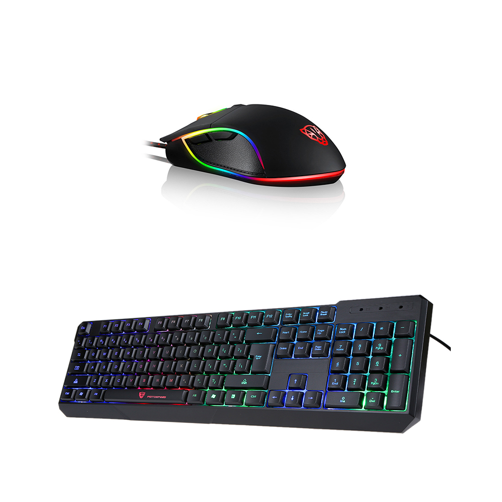 Motospeed V30 Wired Optical USB Gaming Mouse RGB Backlight 3500DPI Ergonomic Gamer PC Mice+104 keys Keyboard for LOL Overwatch original motospeed v30 laser gaming mouse 3500 dpi 6 buttons usb wired game mouse rgb backlight led breathing light for pc gamer