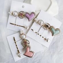 2 Pcs /lot Pearls Heart Pentagram Barrettes Hair Clips Sticks Female Women Ornaments Decoration Hairpin Party Wholesale