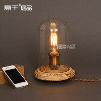Vintage Industrial Table Light Glass Edison Bulb Wooden Desk Accent Lamp E27 Bedroom Bedside Light Cafe Bar Club Coffee Shop