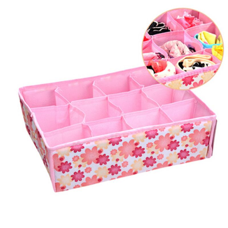 12 grid bag non woven fabric folding case storage box for bra necktie socks underwear clothing