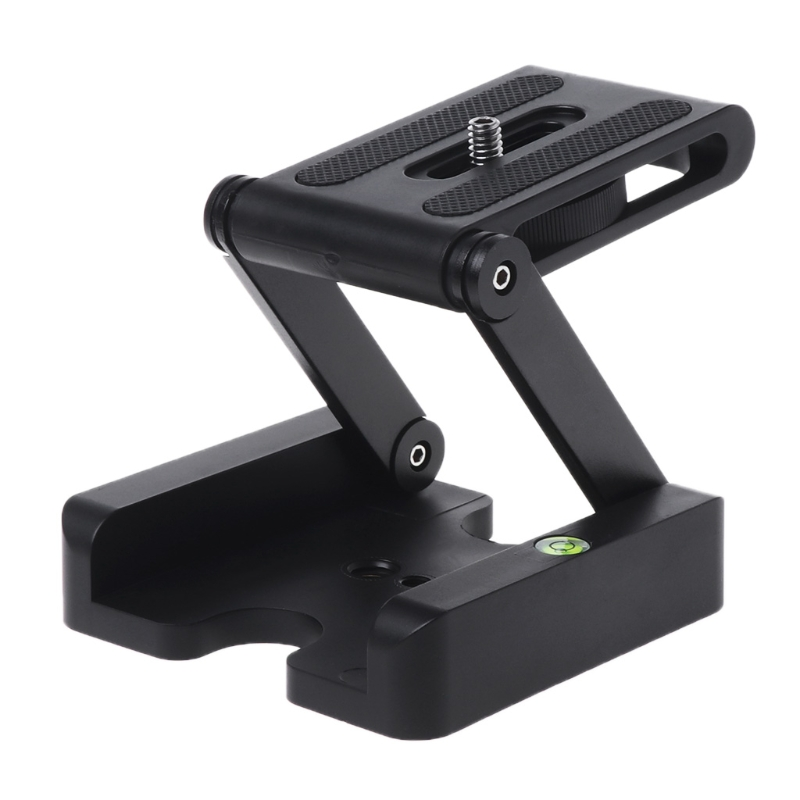 OOTDTY Z Flex Tilt Tripod Head Aluminum Alloy Folding Z Tilt Head Quick Release Plate Stand Mount Spirit Level For Phones Camera