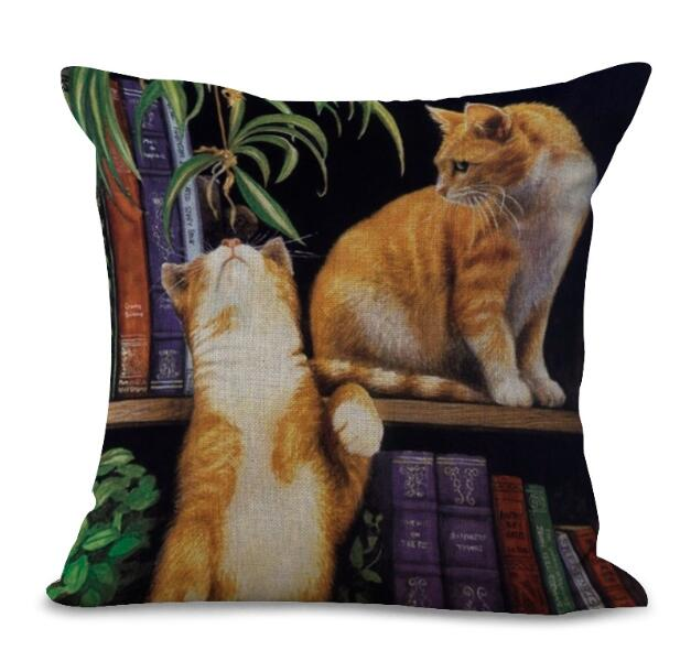 Cute Cartoon Printing Cotton Linen Decorative Cushion Cover Sofa Chair Seat Cat Pillow Cover For Children Gifts