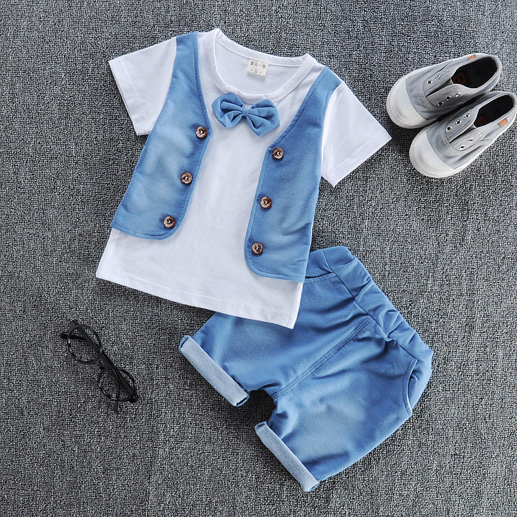 Free shipping 2017 Summer new baby boy clothes cotton material fashion design boys clothing set A002-10