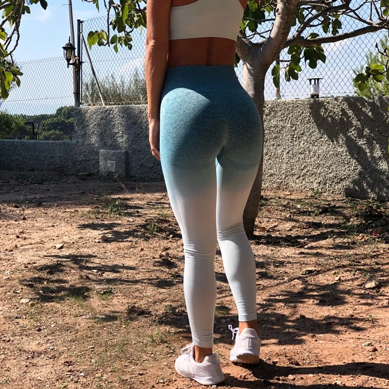 Kaminsky Ombre Seamless Leggings Push Up Fashion Pants High Waist Workout Jogging For Women Athleisure Training