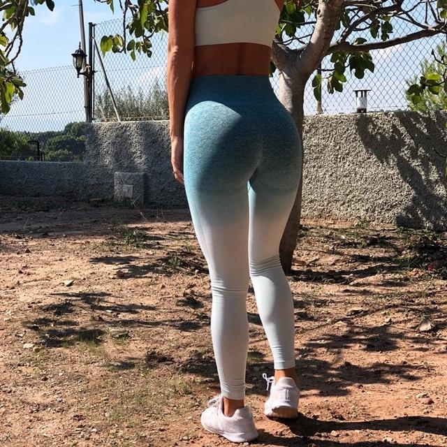Women's Ombre Color Sports Leggings 5 colors  S-L