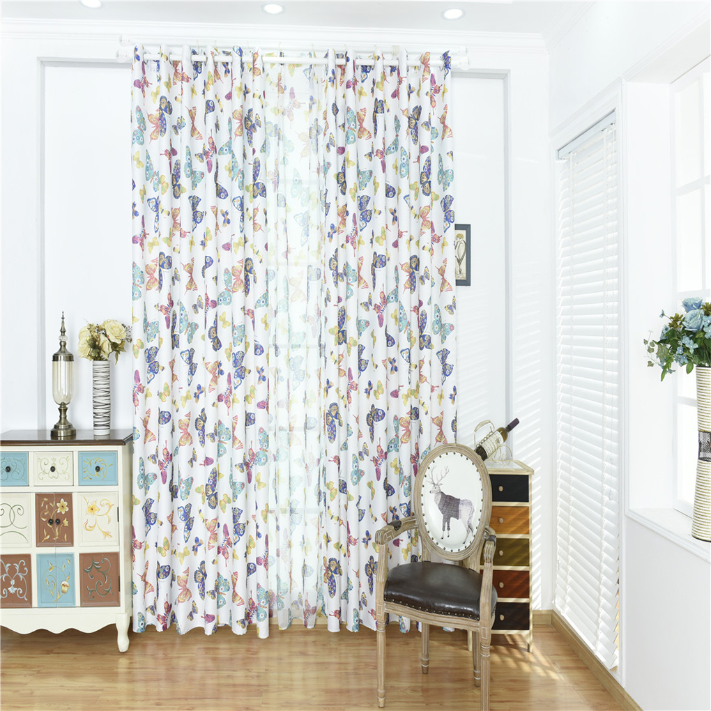Colorful Butterfly Printed Voile Door Window Blinds