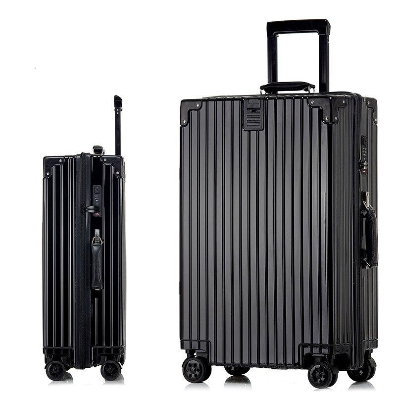 Aluminum Drawbars Zipper Rolling Suitcase Luggage Travel Luggage Suitcase With Wheel Trolley mala de viagem Suitcases On Wheels 20 26 vintage travel trolley luggage suitcase with combination lock rolling luggage suitcases with spinner wheels