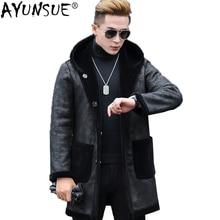 AYUNSUE, мужская куртка из натуральной кожи, стрижка овец, натуральный мех, пальто для мужчин, Двусторонняя одежда, кожаная куртка с капюшоном, pwj1282 KJ847