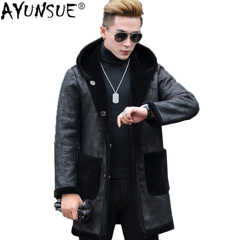 AYUNSUE Mens Genuine Leather Jacket Sheep Shearing Real Fur Coat for Men Double-sided Wear Hooded Korean Leather Jackets KJ847