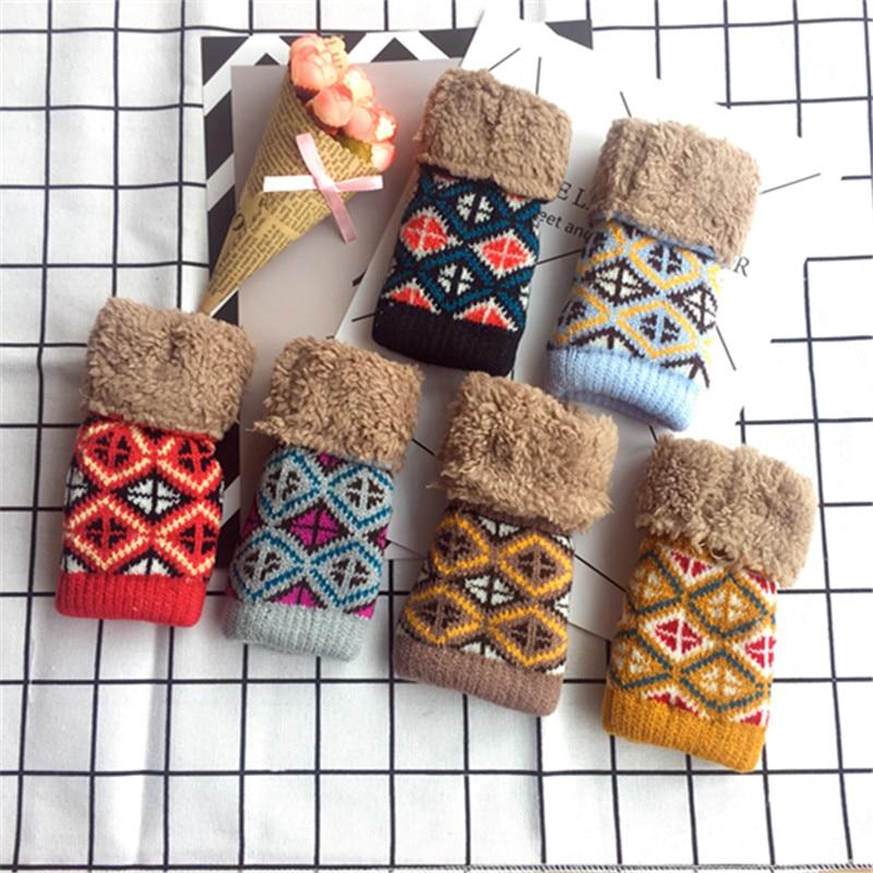 Women Gloves Stylish Hand Warmer Winter Gloves Women Arm Crochet Knitting Faux Wool Mitten Warm Fingerless Gloves