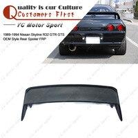 Car Accessories FRP Fiber Glass OEM Style Rear Spoiler Fit For 1989 1994 Skyline R32 GTR GTS Trunk Spoiler Wing