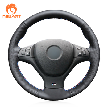 MEWANT Black Genuine Leather Hand Sew Car Steering Wheel Cover for BMW M Sport X5 E70 M50d 2006-2013 X6 E71 2009 2010 2011-2014