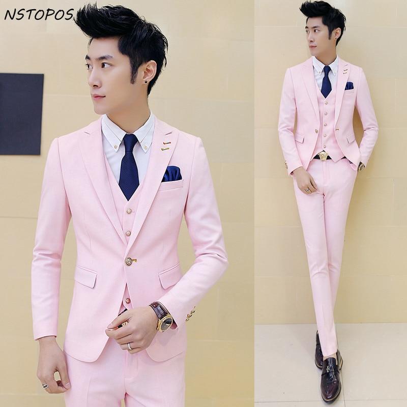 Pink Wedding Tux: Bridegroom Suit 2016 New Brand Mens Suit Designers Wedding