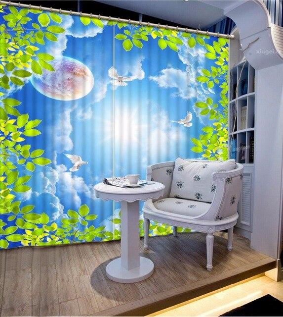 Moderne Fenster Vorhang Für wohnzimmer blauen himmel weiße wolken ...