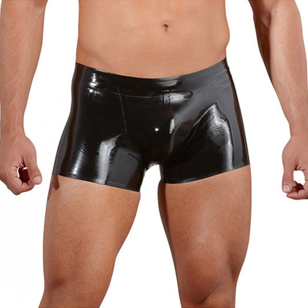 Faux Leather Boxers Black Wetlook Vinyl Leather Lingerie Sexy Men Boxers Shorts Shiny Sheath Cool Male Gay Club Underwear M-XXL