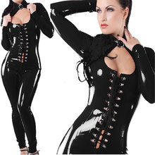 open bust sexy women leather lingerie black full catsuit,heart hole front breast lace up front clubwear bodysuits