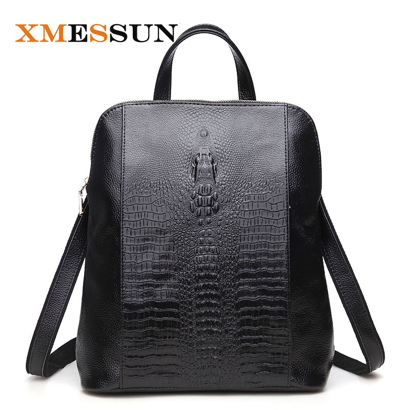 Women Genuine Leather Backpack For Girls College Female Fashion Backpacks 3D Crocodile Woman Back Pack Daily
