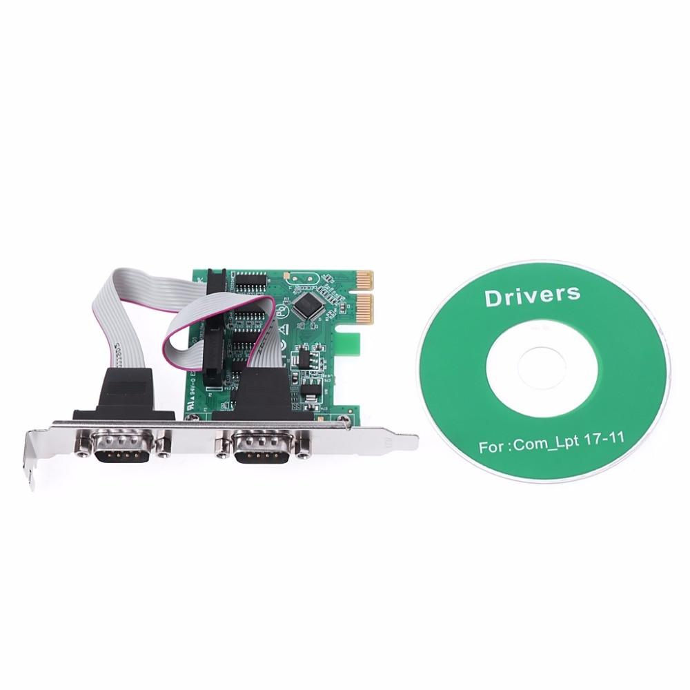 Nuevo pci-e PCI a doble serie DB9 RS232 Express serie controlador tarjeta adaptador 2-Por caliente