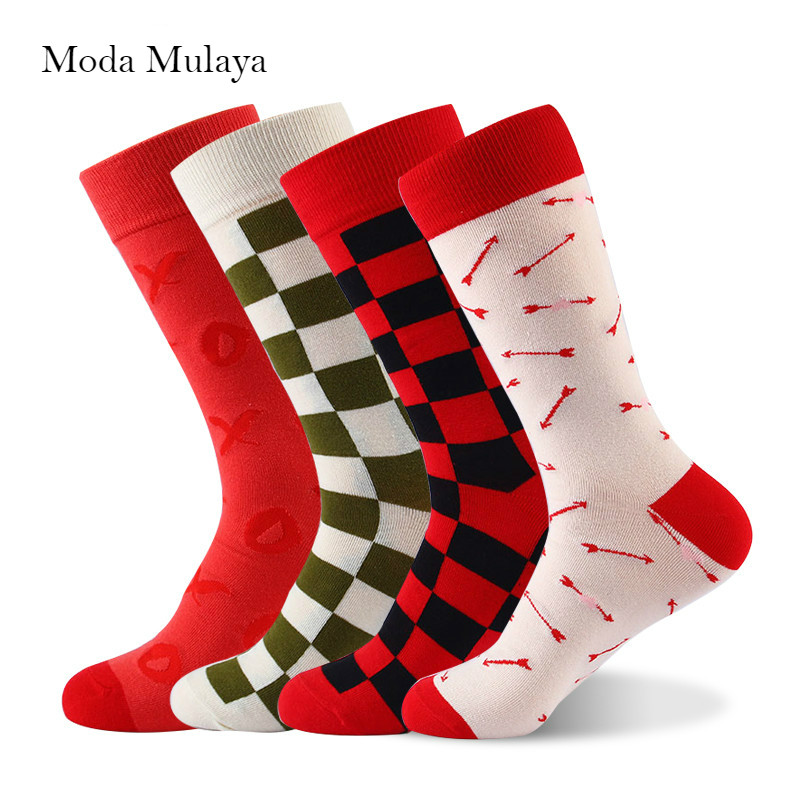 New Arrival Mens Happy   Socks   Thermal Red White Plaid Colorful Funny   Sock   Men 100% Combed Cotton Casual Crew Brand   Socks   for Men