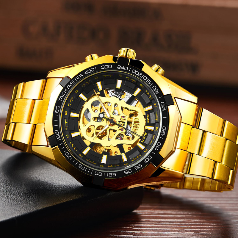 SEWOR Mens 2019 New Fashion Stainless Steel Luminous Skeleton Bone Aotumatic Watch Sport Watch Men Casual Wristwatch in Mechanical Watches from Watches