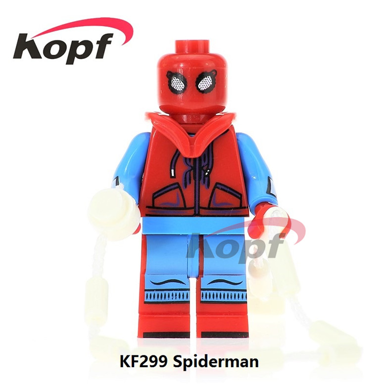 50Pcs KF299 Homecoming Homemade Suit Super Heroes Spiderman Spider-man The Shocker Iron Man Building Blocks Children Gift Toys