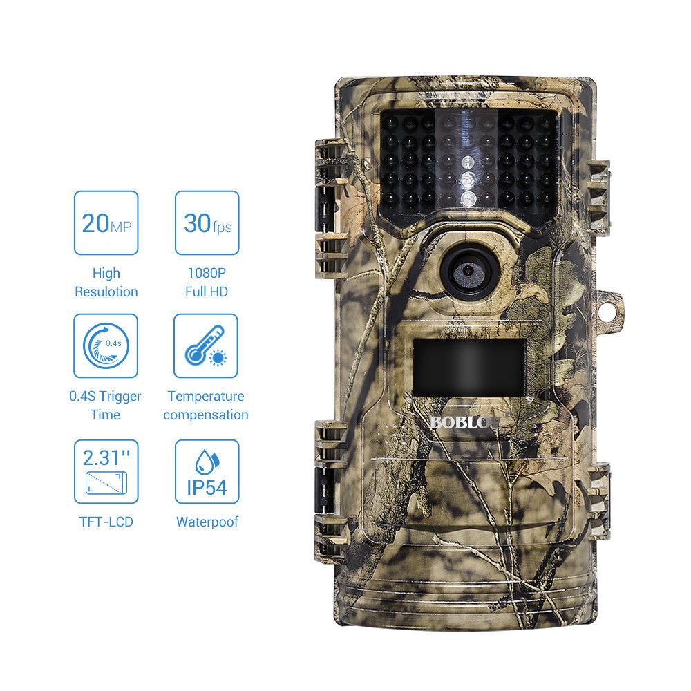 BOBLOV CT006ハンティングビデオカメラ20MP 1080p 30fpsトレイルカメラファームホームセキュリティ0.4sトリガー時間野生生物隠し写真トラップEYOYO