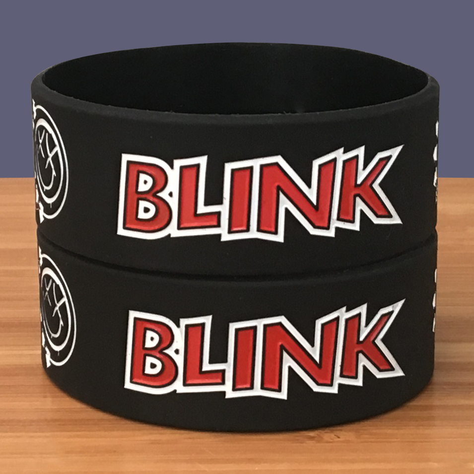 New Product 1PC American Famous Punk Band Blink 182 Silicone Bracelet 1'' Wide Band