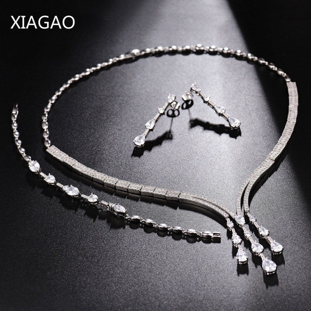XIAGAO Hot Tassel Bride Classic Rhinestone Crystal Necklace Earrings Bracelet for Women Wedding Jewelry Sets Wedding Engagement a suit of retro fake gem rhinestone leaf tassel necklace and earrings for women