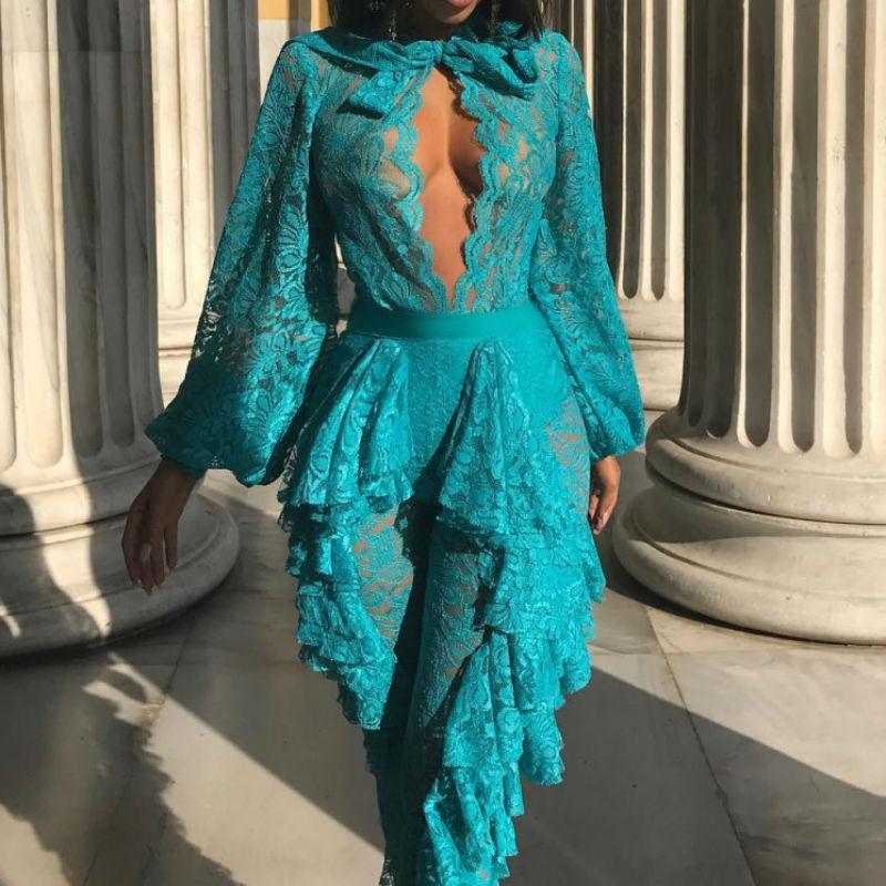 2018 Mode D'été Perspective Bleu Nouveau Combinaisons Femmes O Blanc Clubwear Bandage blanc Bleu Barboteuses Moulante cou 1wddAq