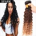 Barato E de Boa Qualidade 7A Peruano Virgem Cabelo Profunda Curly cabelo Pacote 1 pc/lote Faísca Cabelo Ombre Kinky Curly Virgem Cabelo produtos