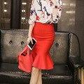 Nueva Volantes Hem Delgado Tejer Hermosas Señoras Fishtail Faldas para mujer 2016 en 8 Colores faldas largas mujer