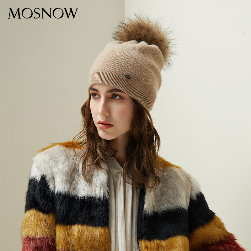 Autumn Winter Beanies Hat For Women Knitted Wool Skullies Casual Cap With Real Raccoon Fox Fur Pompom Solid Colors Ski Beanie
