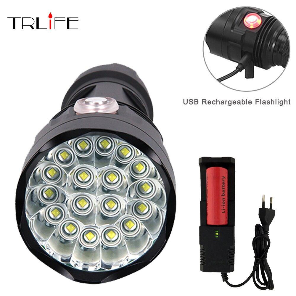 Мощный USB Перезаряжаемый 6 режимов фонарик 3 до 18 * XML-T6 светодиодный фонарик с батареей 26650 водонепроницаемый lanterna для кемпинга