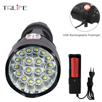 Powerful USB Rechargeable 6modes Flashlight 3 To 18 CREE XML T6 LED Torch With 26650 Battery