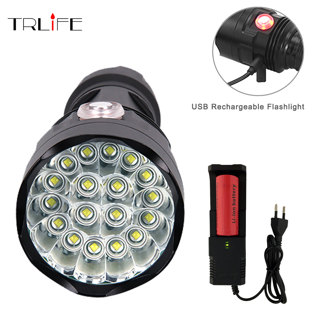 Powerful USB rechargeable 6modes Flashlight 3 to 18 * XML-T6 LED torch with 26650 battery waterproof lanterna for camping sitemap 18 xml