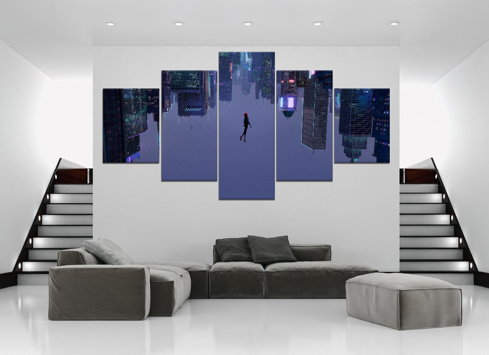 HD Print Wall Art 5 Pieces Movie Spider Man Into the Spider Verse Home Decor Boys Bedroom Painting Modular Poster Modern Frame in Painting Calligraphy from Home Garden